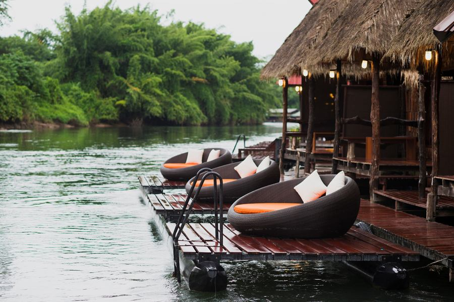 chic floating raft house near bangkok thailand