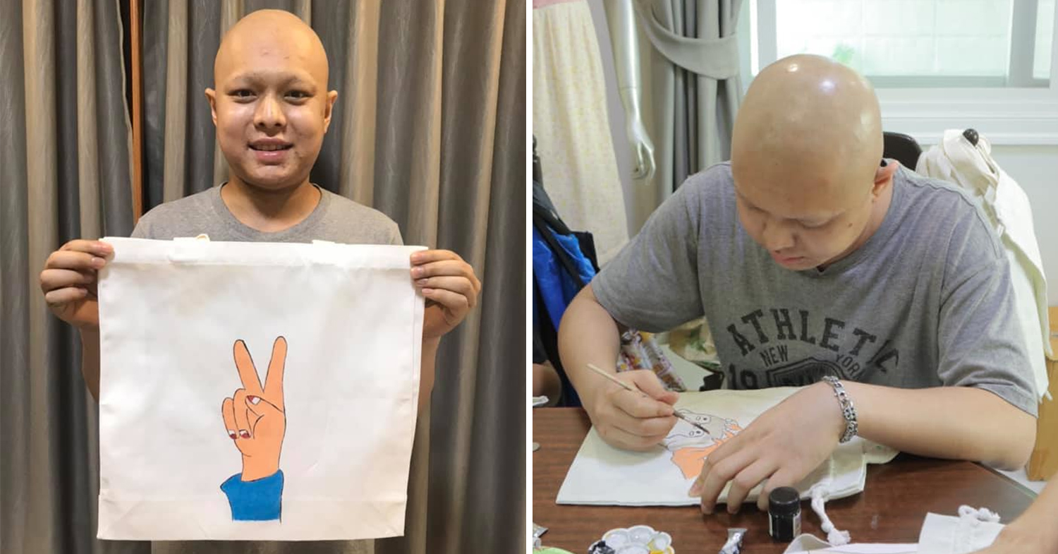 Thai man with cancer saves money by selling tote bags
