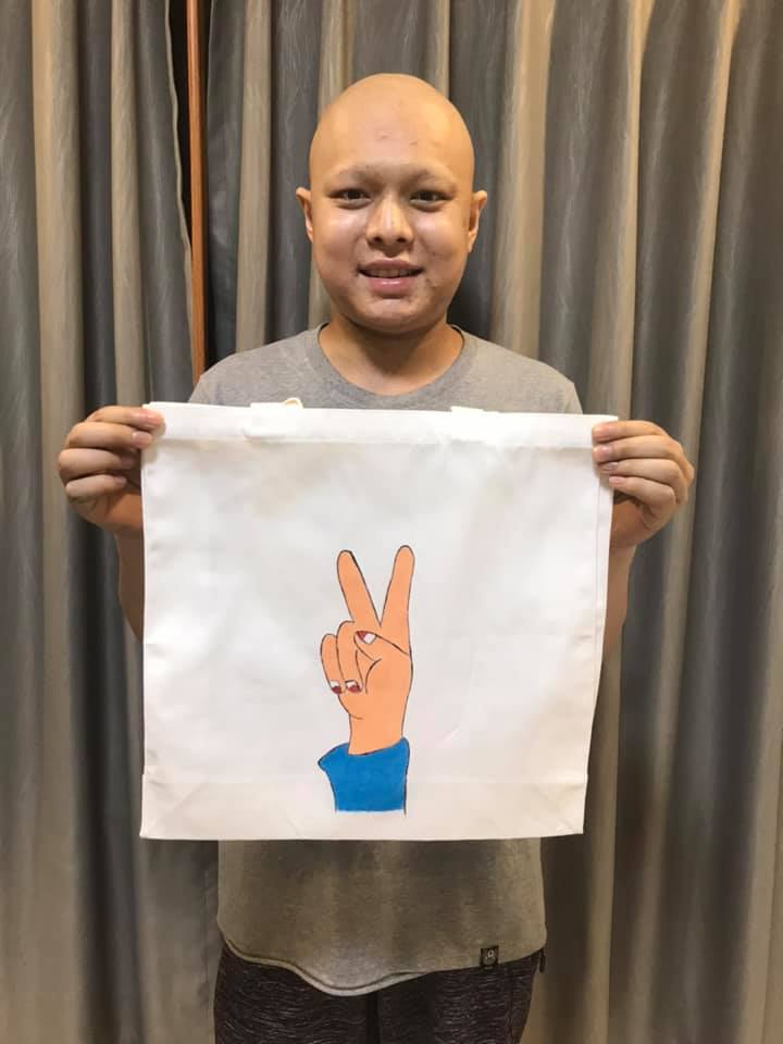 Tote bags from cancer patients
