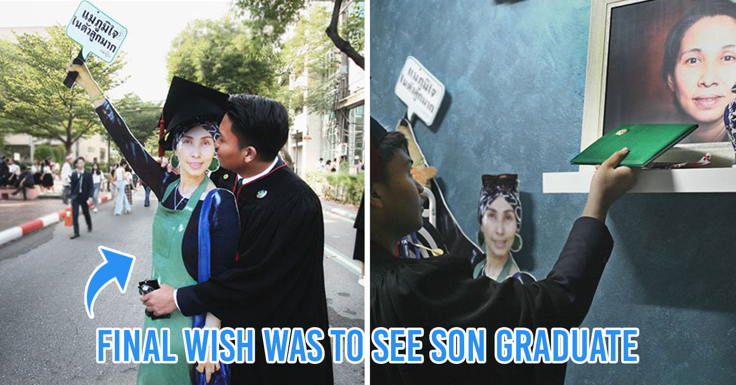 Man Surprises Brother At Graduation Ceremony With Standee Of Late Mother Who Wanted To Watch Him Graduate Bangkok Thailand
