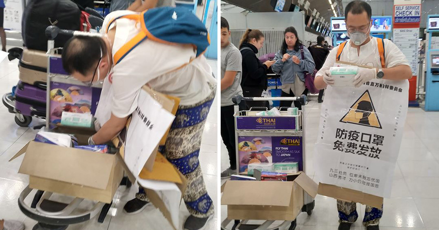 Foreigners Help Thais Fight Wuhan Virus By Giving Out Free Medical Masks At Airport And Bus Station