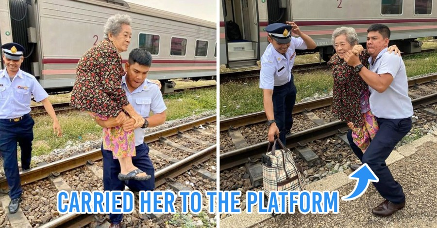 Grandma Has Difficulty Getting Off Train, Conductor Comes To The Rescue And Carries Her Across Tracks