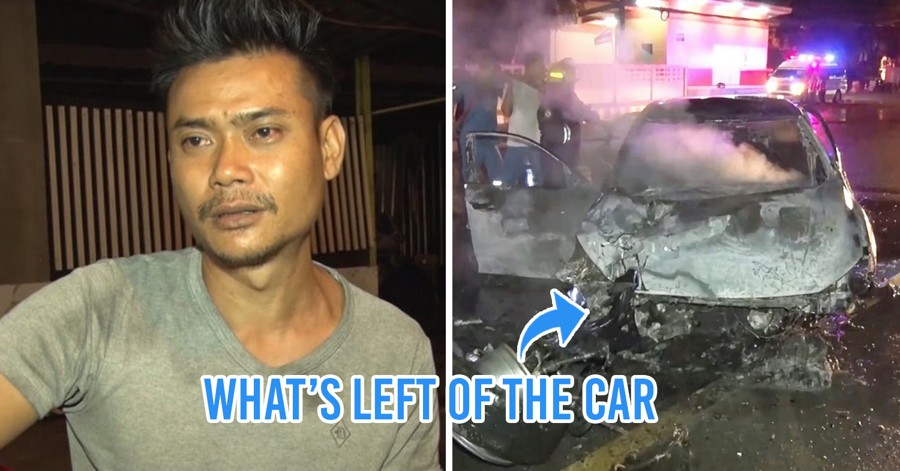 Mookata Restaurant Staff Rescues Woman From Burning Car, She Escapes With Just Scratches