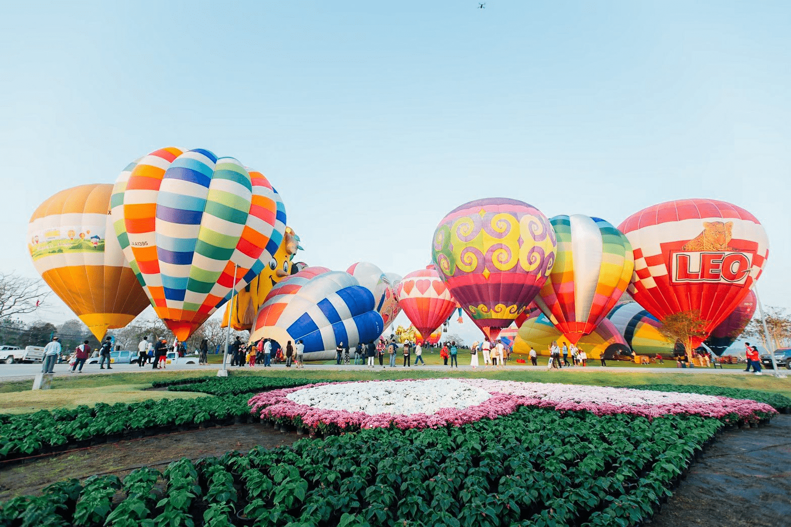balloons from different country at Singha Park Chiang Rai
