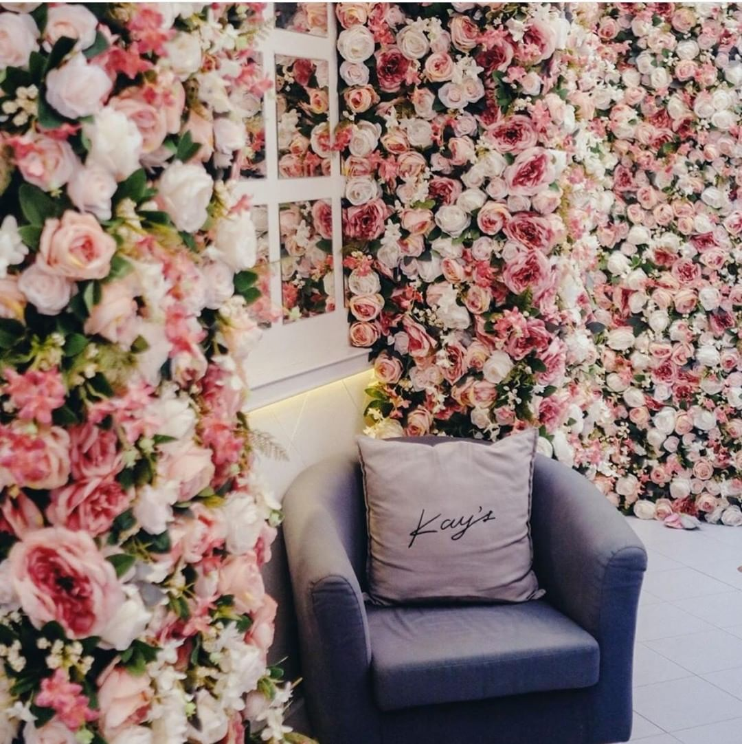 Kay's Boutique Breakfast - giant flower wall