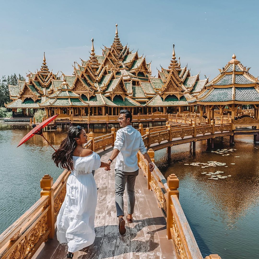 emerald-and-gold pavilions at Muang Boran Thailand