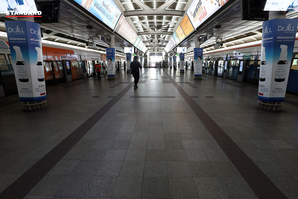Central Bangkok Looks Eerily Empty Over The Weekend After 'Soft' Lockdown Takes Place