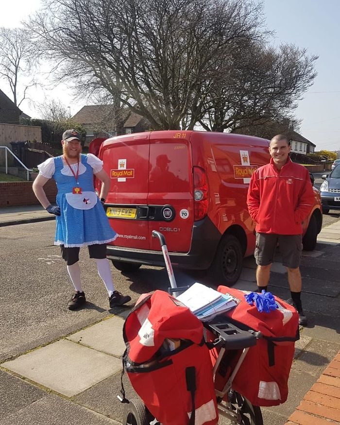 English Postman Dresses Up In Costumes To Lift Community Spirit During COVID-19 Lockdown