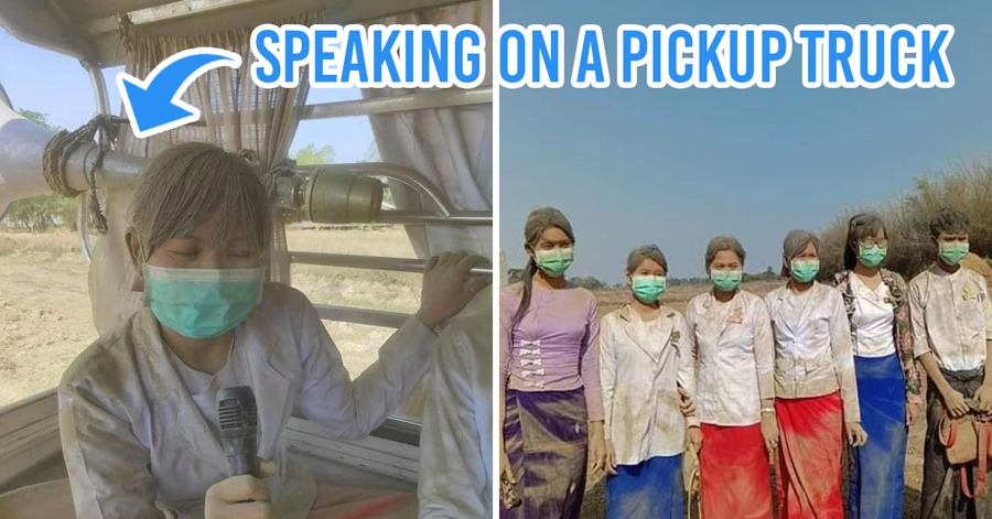 Myanmar Nurses Covered In Dust As They Spread Awareness About COVID-19 In Rural Areas