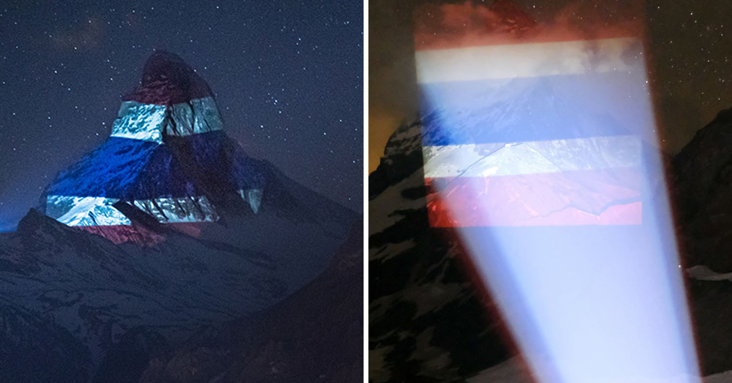 Switzerland's Matterhorn Illuminated With Thai Flag To Show Support During COVID-19 Pandemic