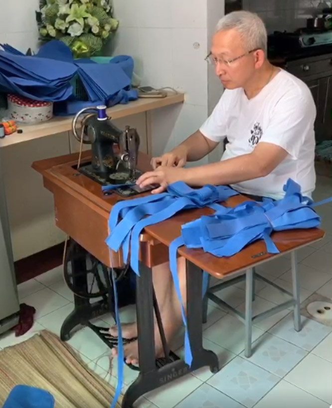Thailand's Ex-Deputy Minister Helps SewFree Shoe Covers For Health Workers