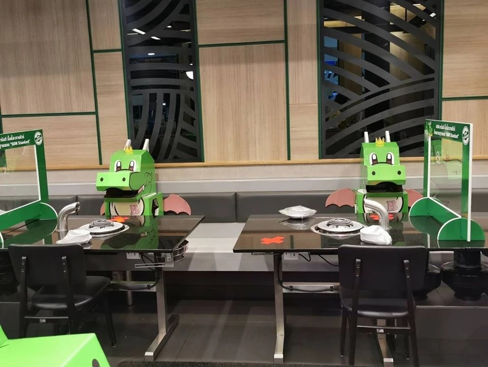 Thai BBQ Restaurant Sits Its Mascot 'Dragon' To Help Patrons Feel Less Lonely And Keep A Safe Distance