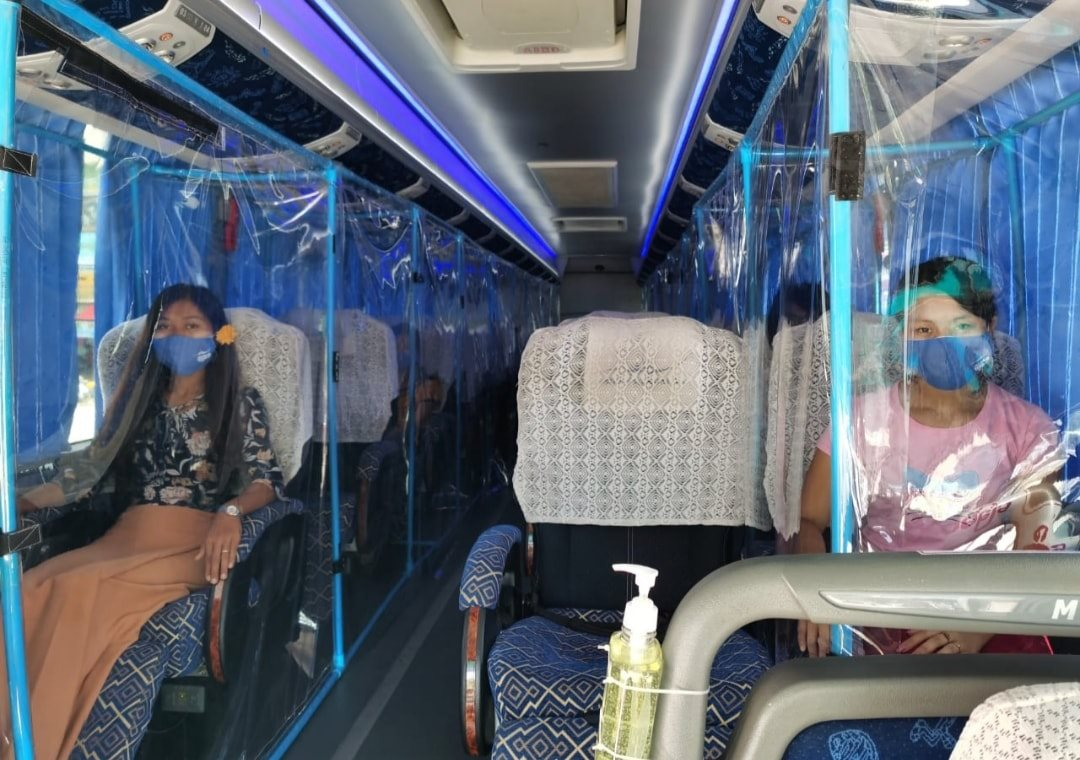 Buses In Myanmar Adapt To Cope with COVID-19