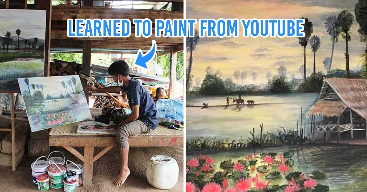 Thai orphan sells paintings for tuition fees