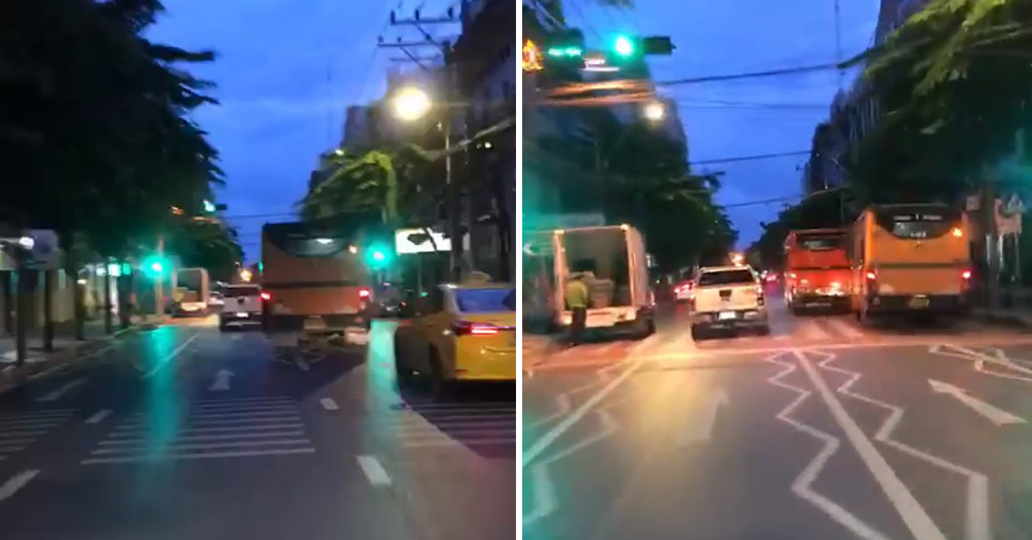 Thai buses race on the road