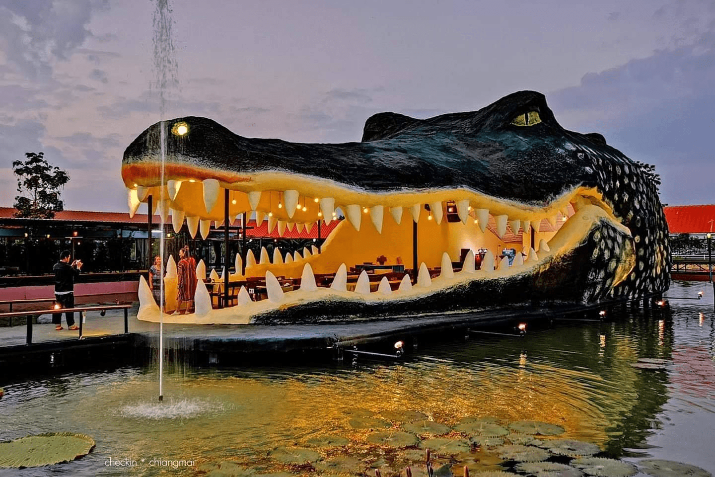 Restaurant with a giant crocodile head in Chiang Mai