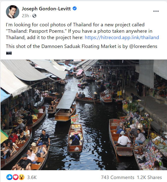 Joseph Gordon-Levitt Asks Fans For Cool Pictures Of Thailand For His Art Project (1)