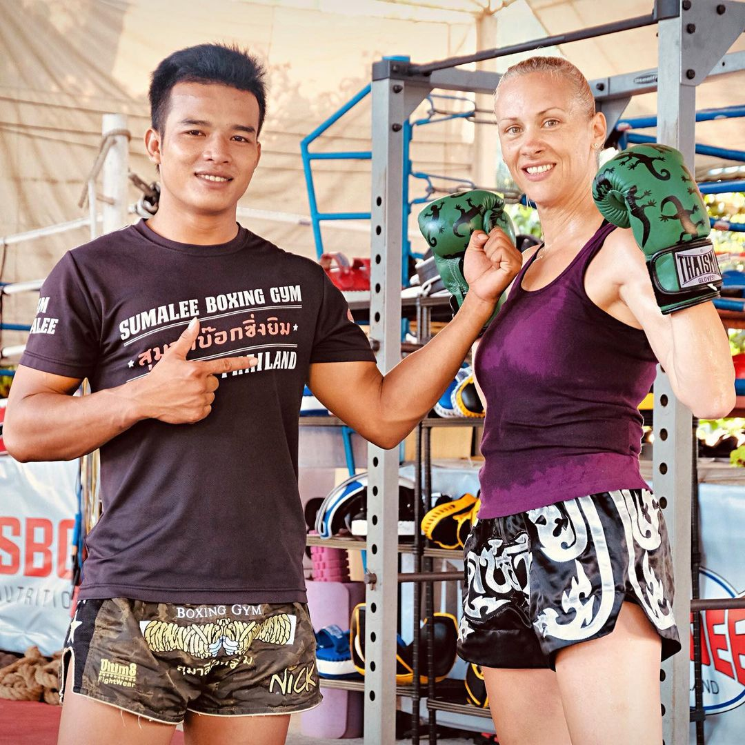 Muay Thai Student with Teacher at Sumalee
