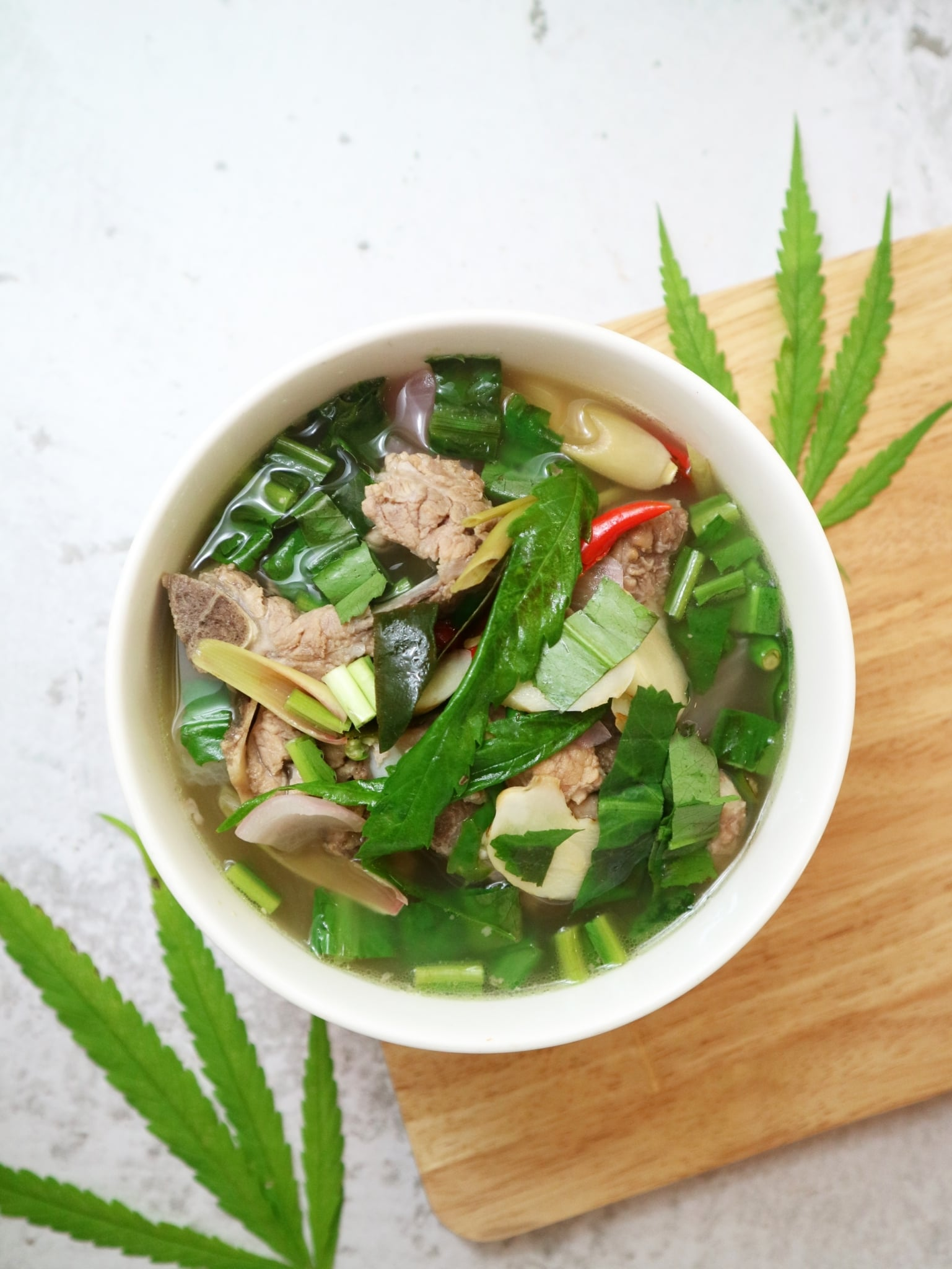 Marijuana infused pork broth soup