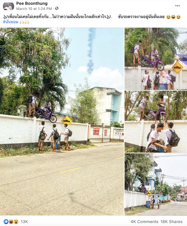 Thai 9th Grader Boys Skip School And Climb Over Wall With Their Motorbike
