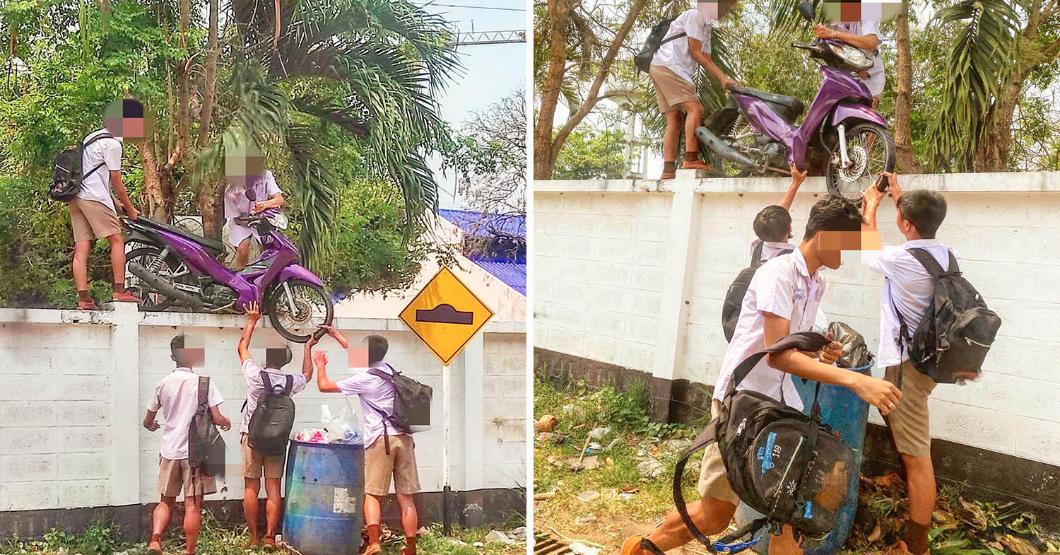 Thai 9th Grader Boys Skip School And Climb Over Wall With Their Motorbike - Netizen