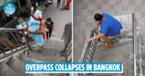 Bangkok Overpass Stairs Collapse, Commuters Still Use It Despite Safety Hazards