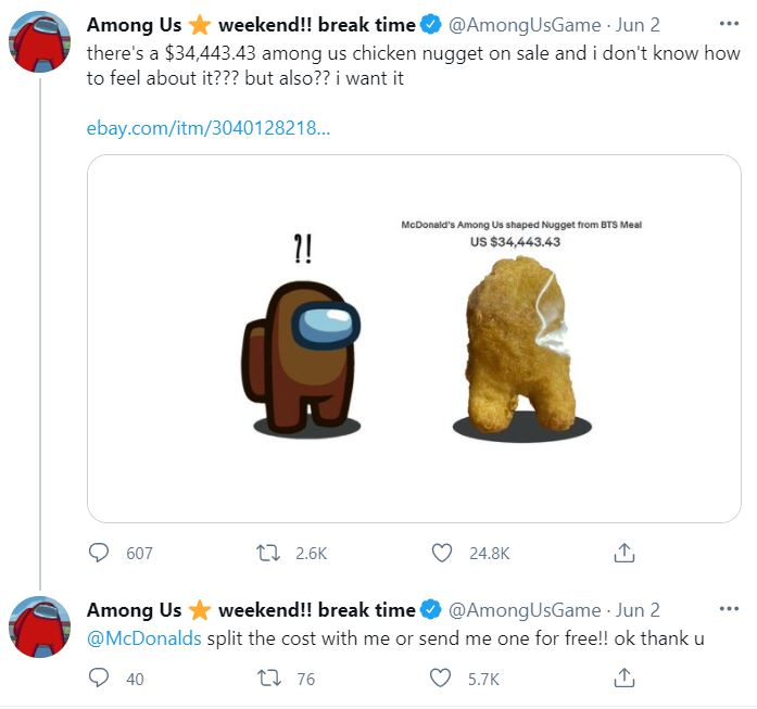 Among Us Shaped Nugget From McDonald's BTS Meal Gets Sold On eBay For US$100,000