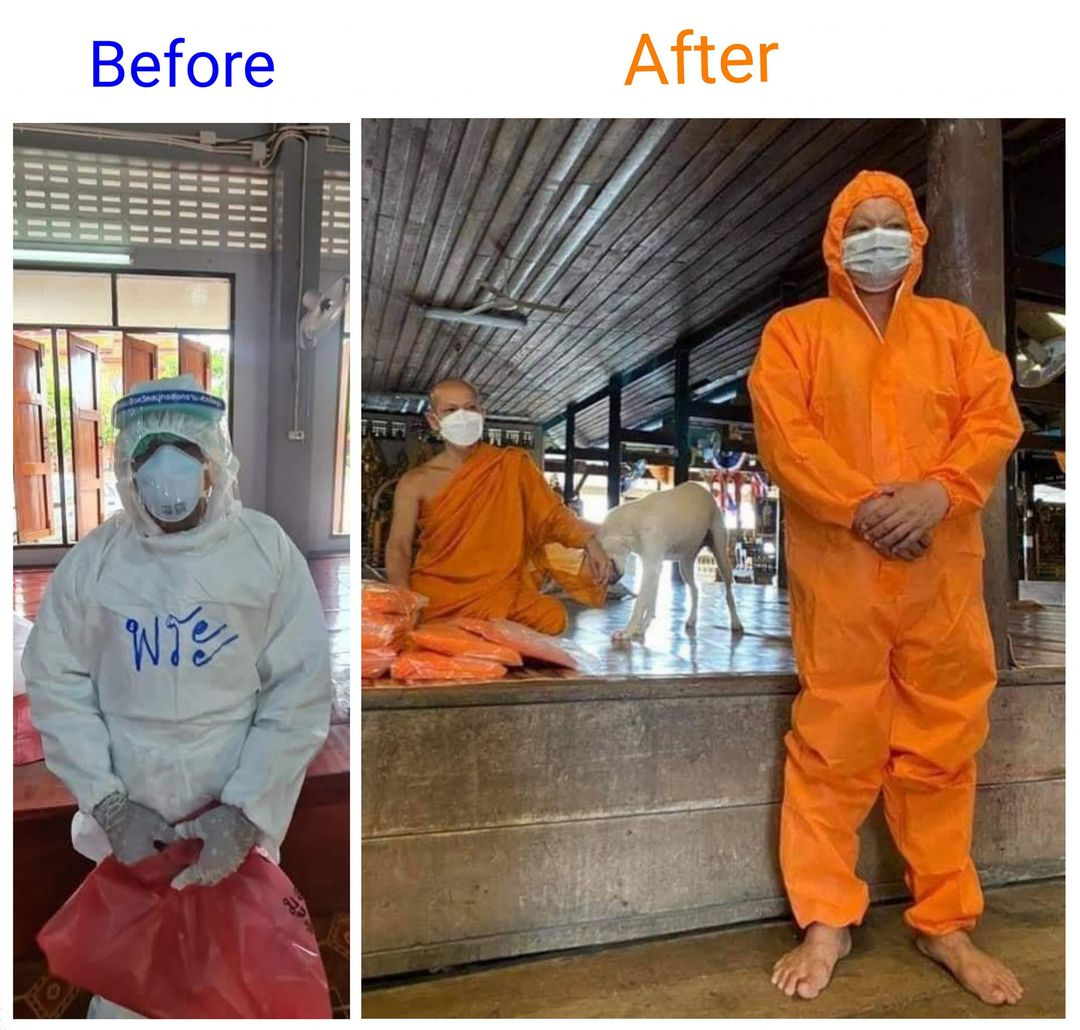 monks in ppe