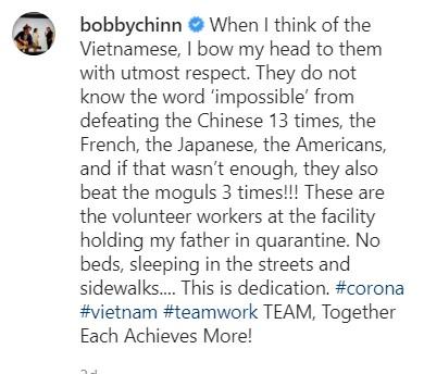bobbychinn comment on Vietnamese quarantine staff