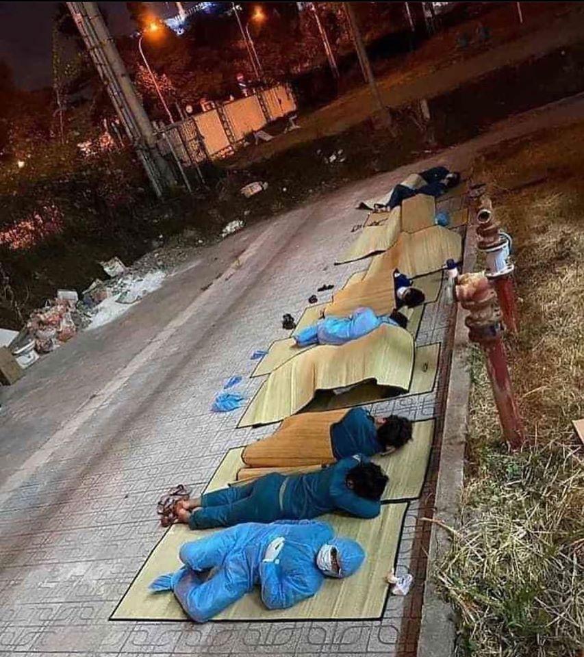 quarantine staff sleeping