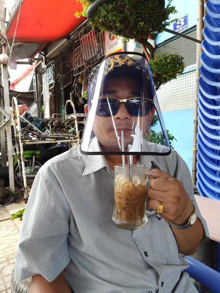 wear visor drink coffee