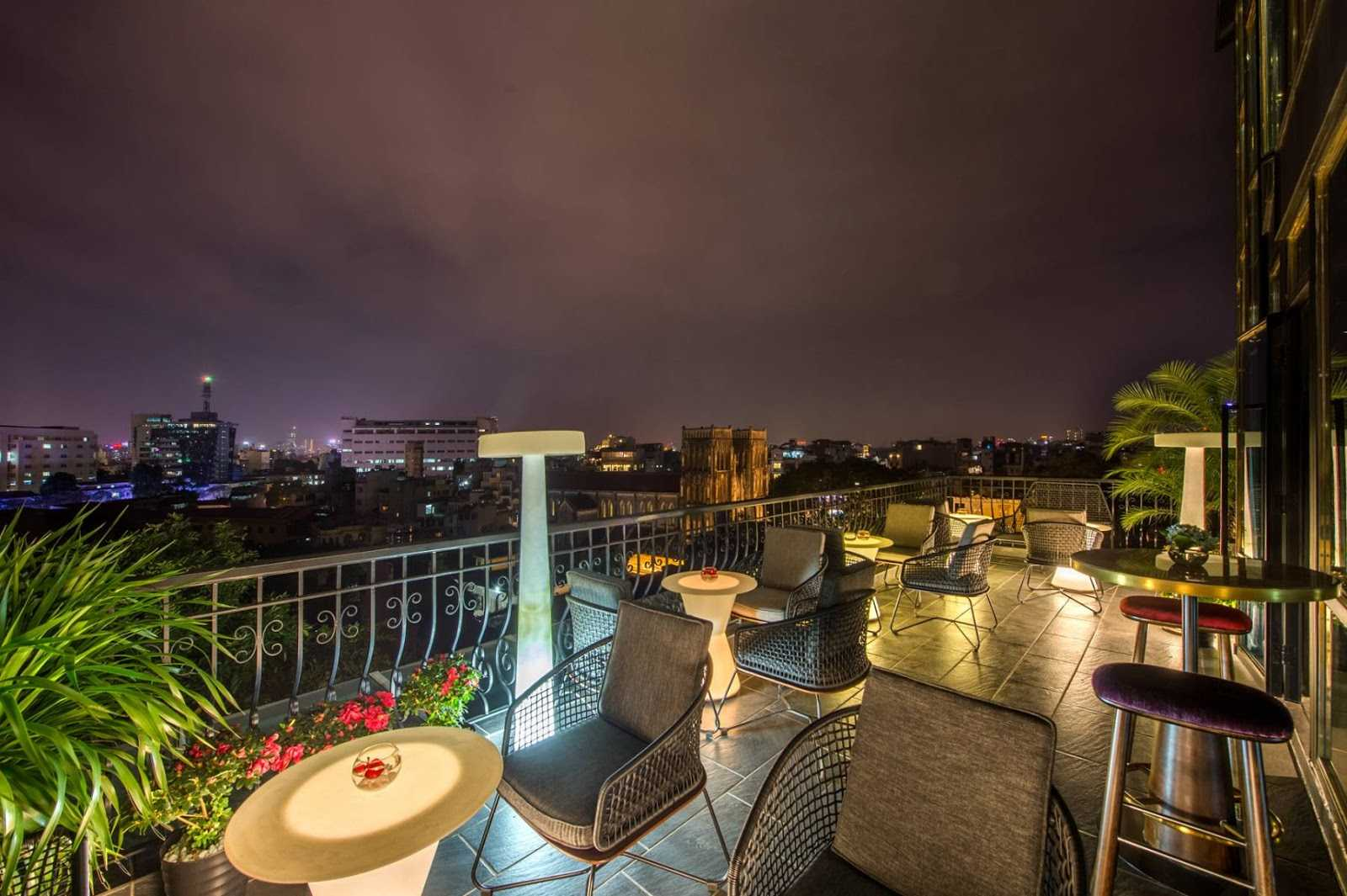 hanoi rooftop bars - the chi rooftop bar cathedral view