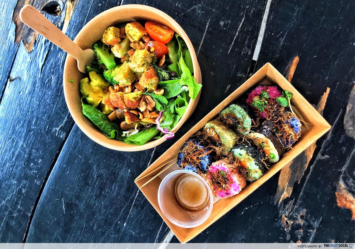 salad and sushi at saigon outcast