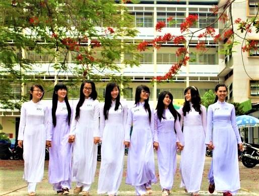 Vietnamese school girls in ao dai