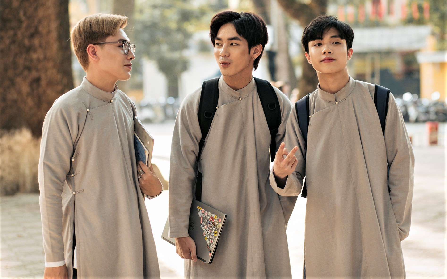 male students wear ao dai
