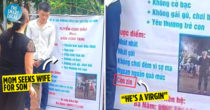 "Vietnamese Mom's Huge Banner Seeks Potential Wife For Son, Says He's ""Handsome"" & ""Shy Around Girls"""