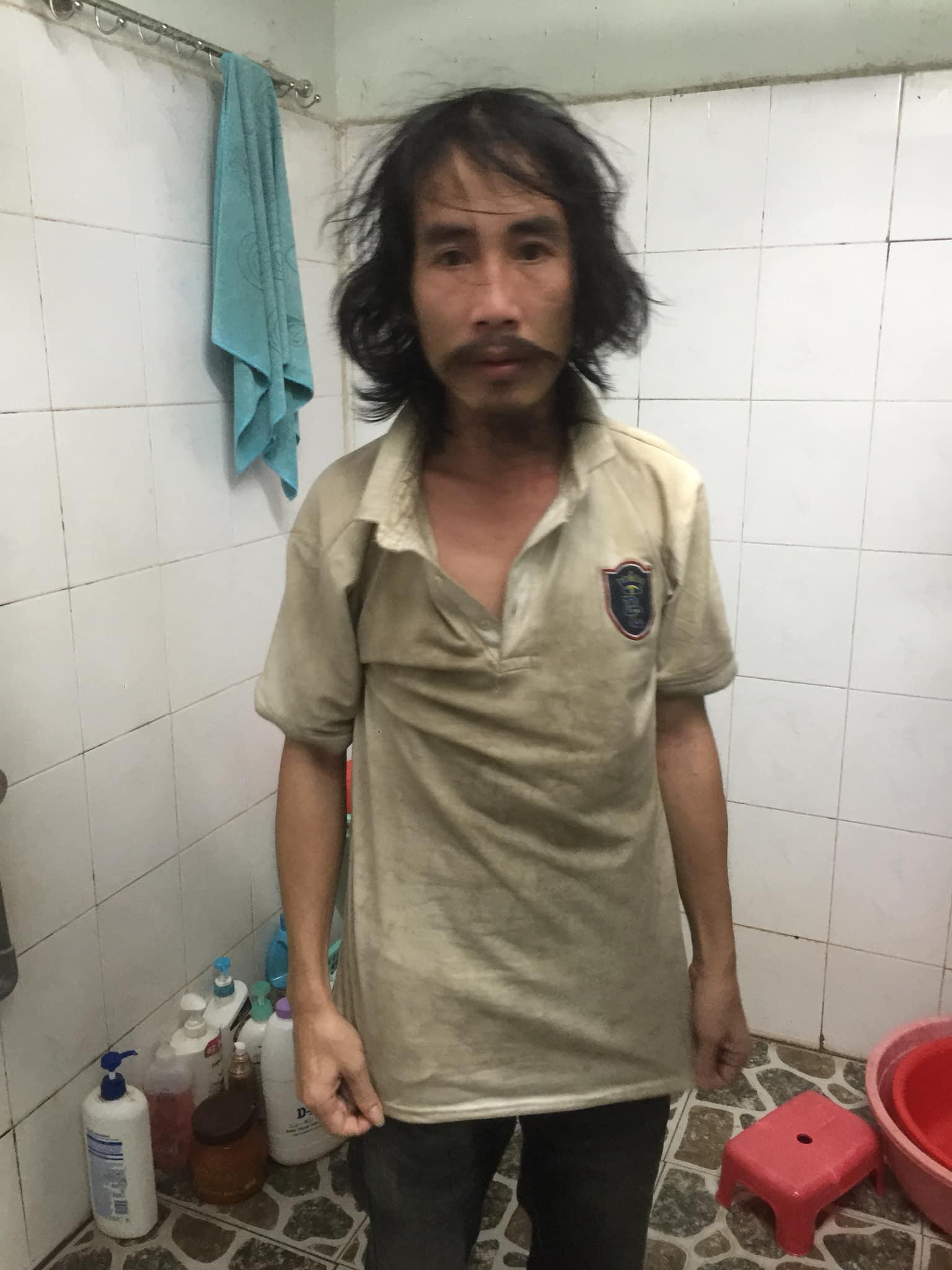 homeless man before haircut
