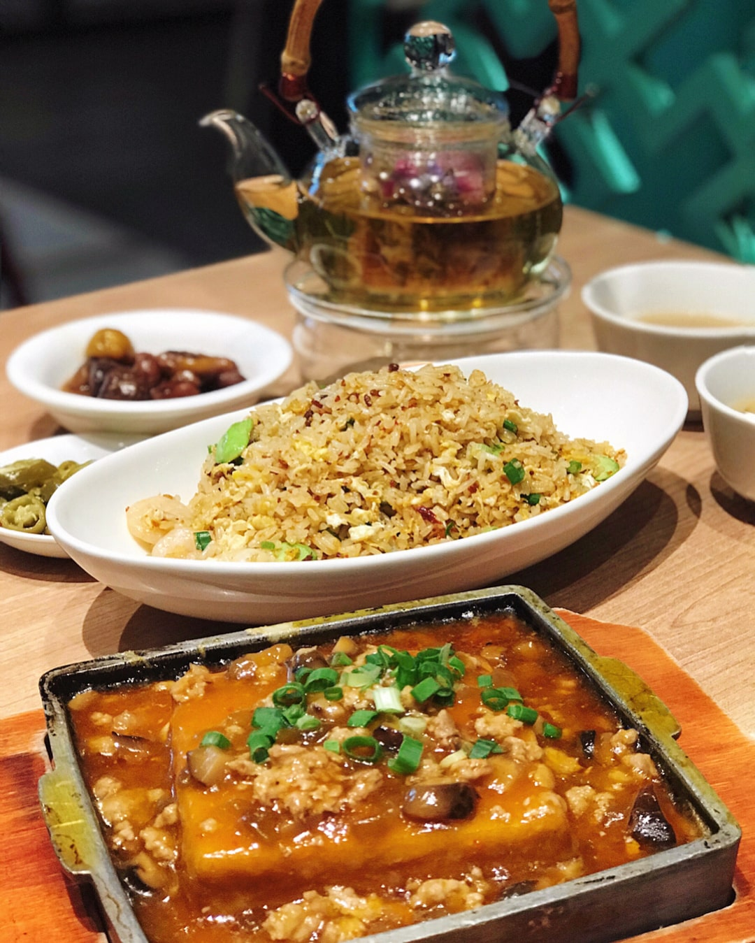 paradise classic Hot Plate Tofu with Preserved Cai Xin and Minced Pork and Egg Fried Rice