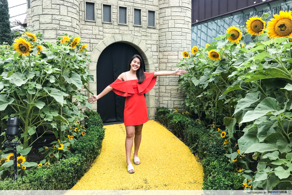 Sunflower surprise ootd using phone GBTB - castle of oz  tourist photo