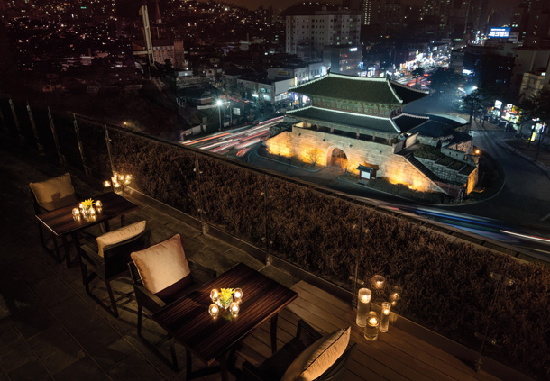 Seoul Restaurants view Korea - the griffin rooftop heunginjimun gate marriot