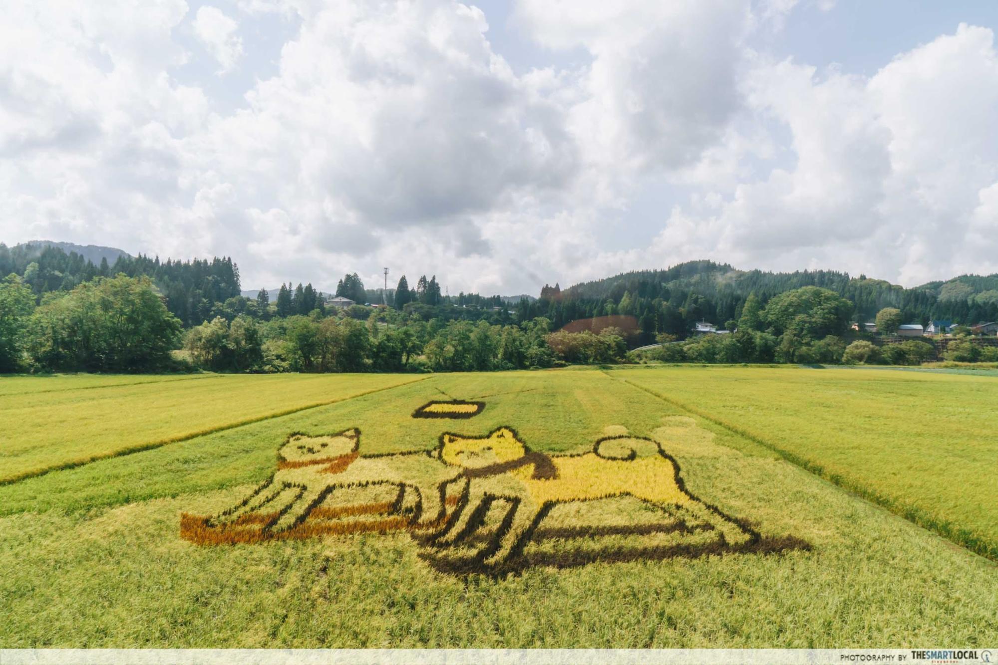 Tohoku Japan - tanbo art inakadate akita nairiku jukan tetsudo rail