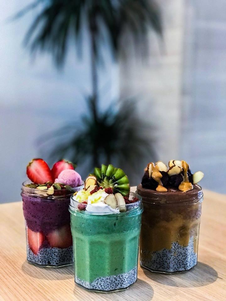 Berry Bliss, Green Goddess & PB and Choc smoothie jars  Smoocht