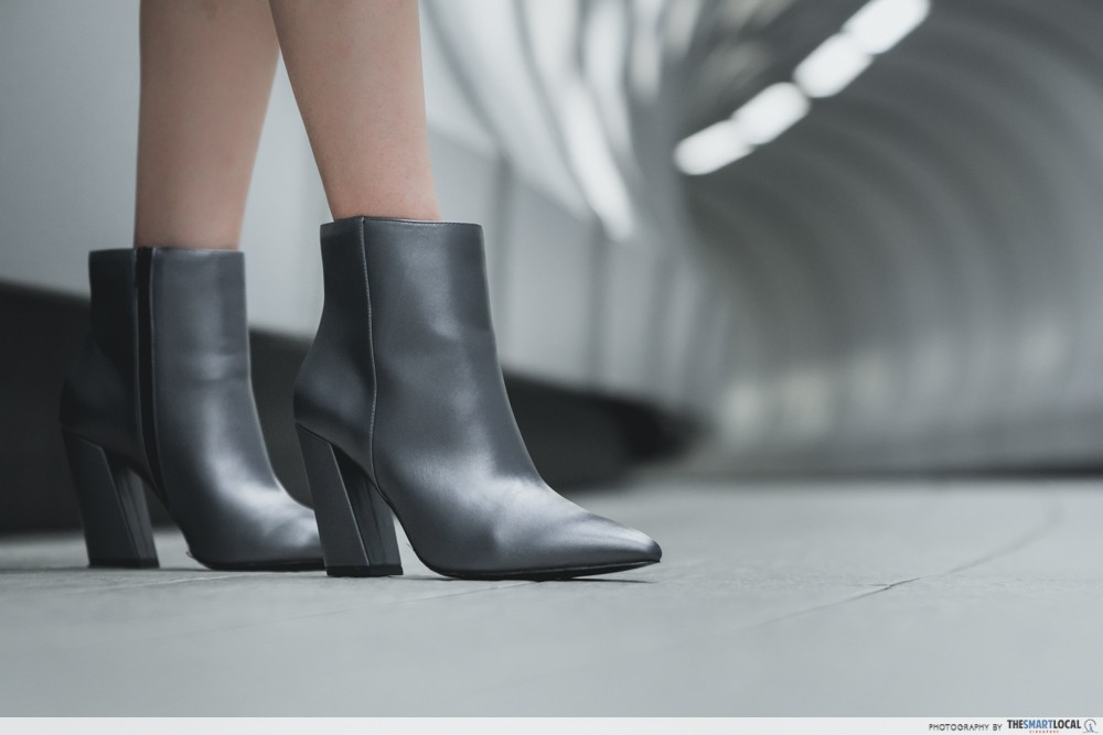 metallic pewter boots
