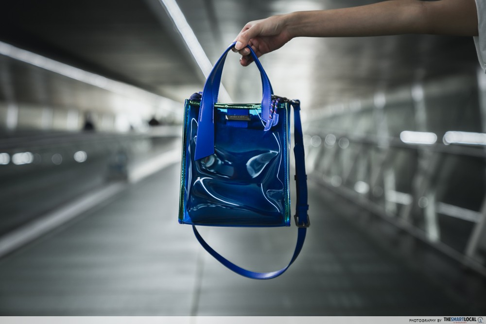 top handle shoulder bag in blue