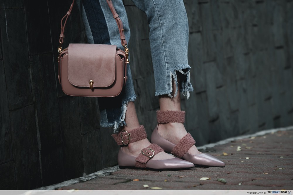 blush bag and flats