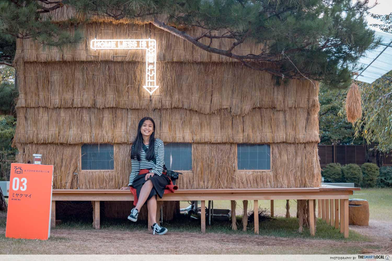 wooden hut installation