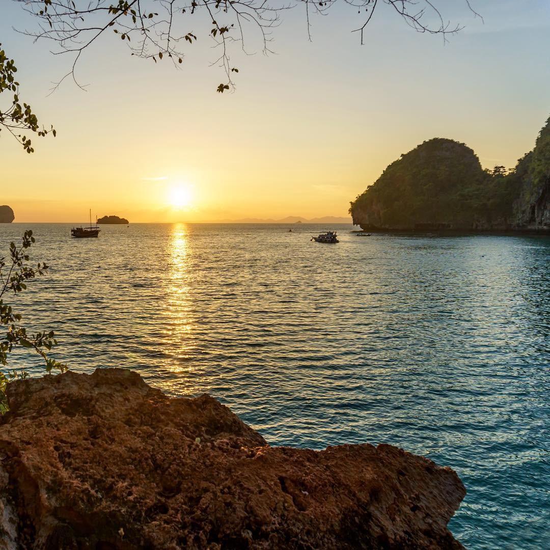 phra nang beach krabi sunset