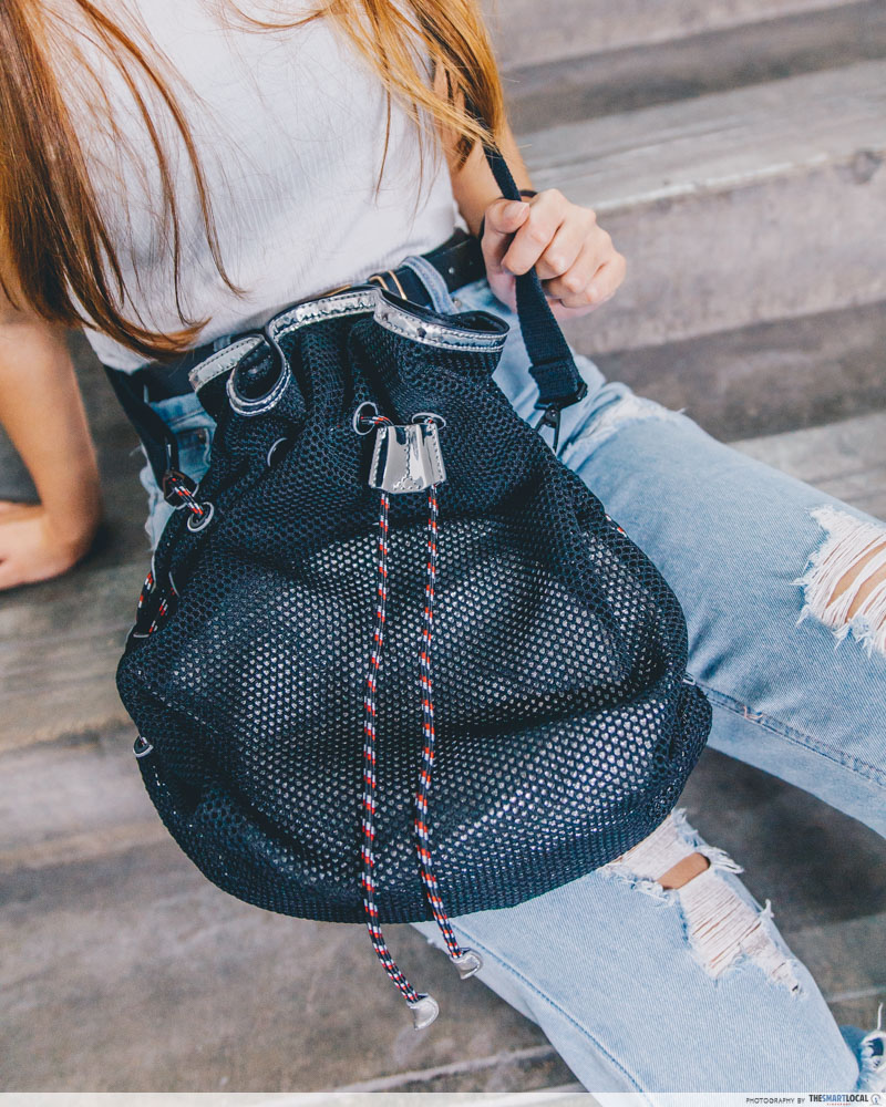 mesh detail drawstring bag
