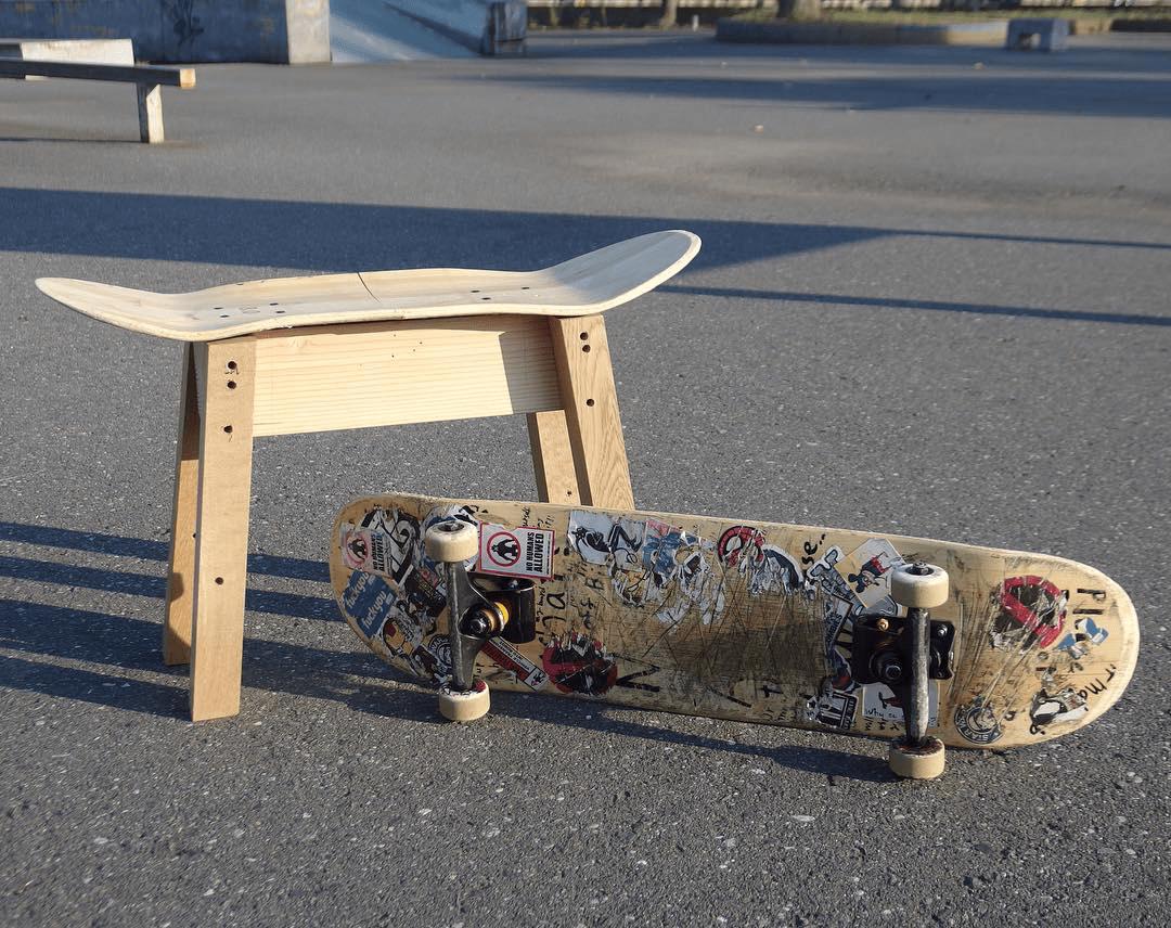upcycling skateboard to stool