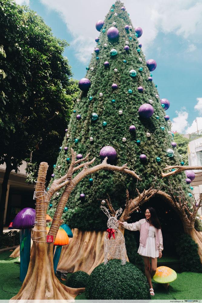 JEM wonderland themed christmas 2018 - 11m tall christmas tree white rabbit